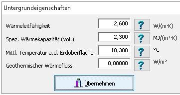 EED-Berechnungen - Untergrundeigenschaften
