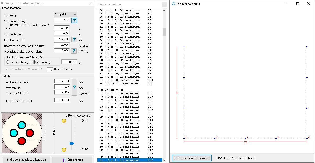 EED-Berechnungen - Sondenkonfiguration